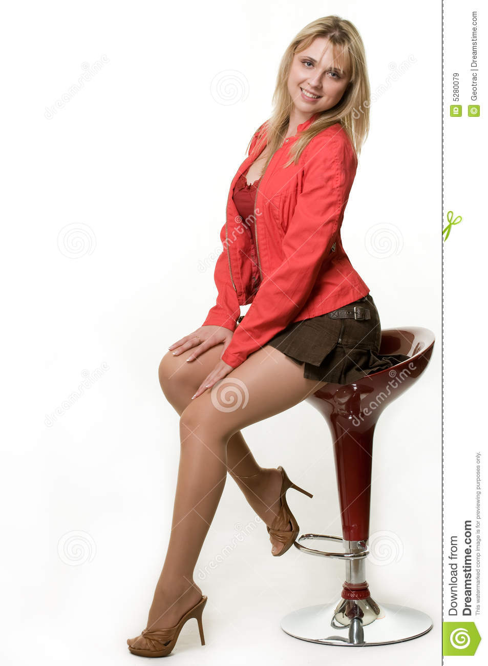 Woman On Stool Royalty Free Stock Images  Image 5280079