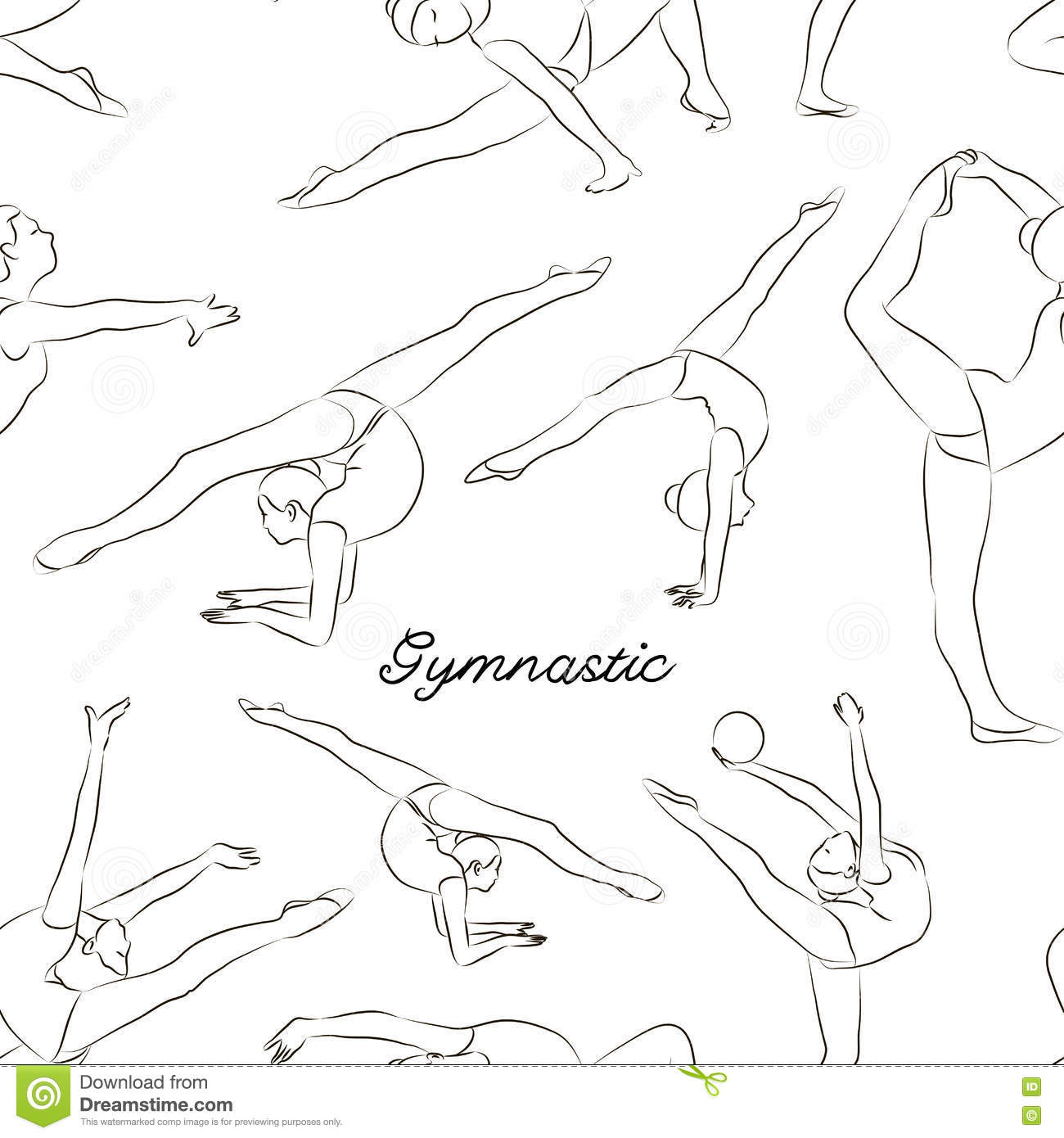 Woman Stretching, Gymnastic, Sport Pattern Stock Vector