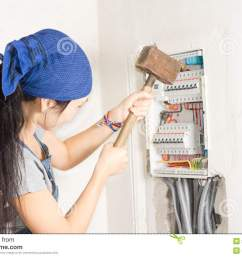 woman taking aim at an electrical fuse box stock photo image of rh dreamstime com open [ 1300 x 957 Pixel ]