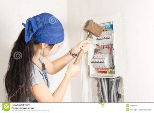 small resolution of woman taking aim at an electrical fuse box stock photo image of rh dreamstime com open