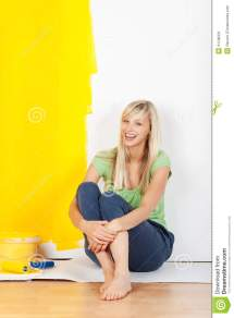 Barefoot Women Painting Walls