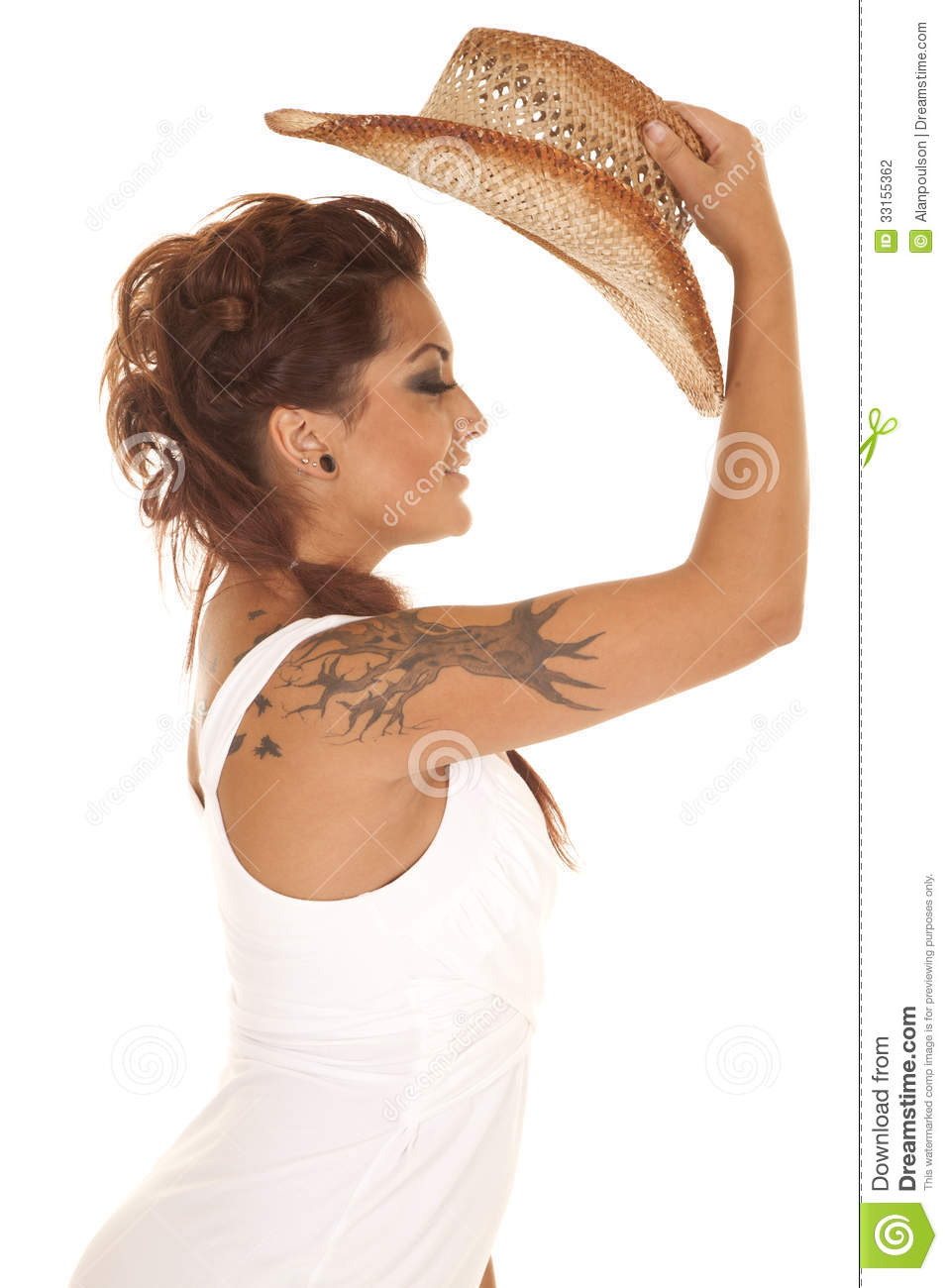 Woman Tattoos Cowgirl Put Hat On Stock Photo Image 33155362