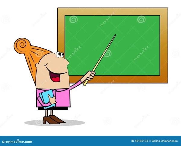 Woman Teacher Shows School Board Pointer Stock