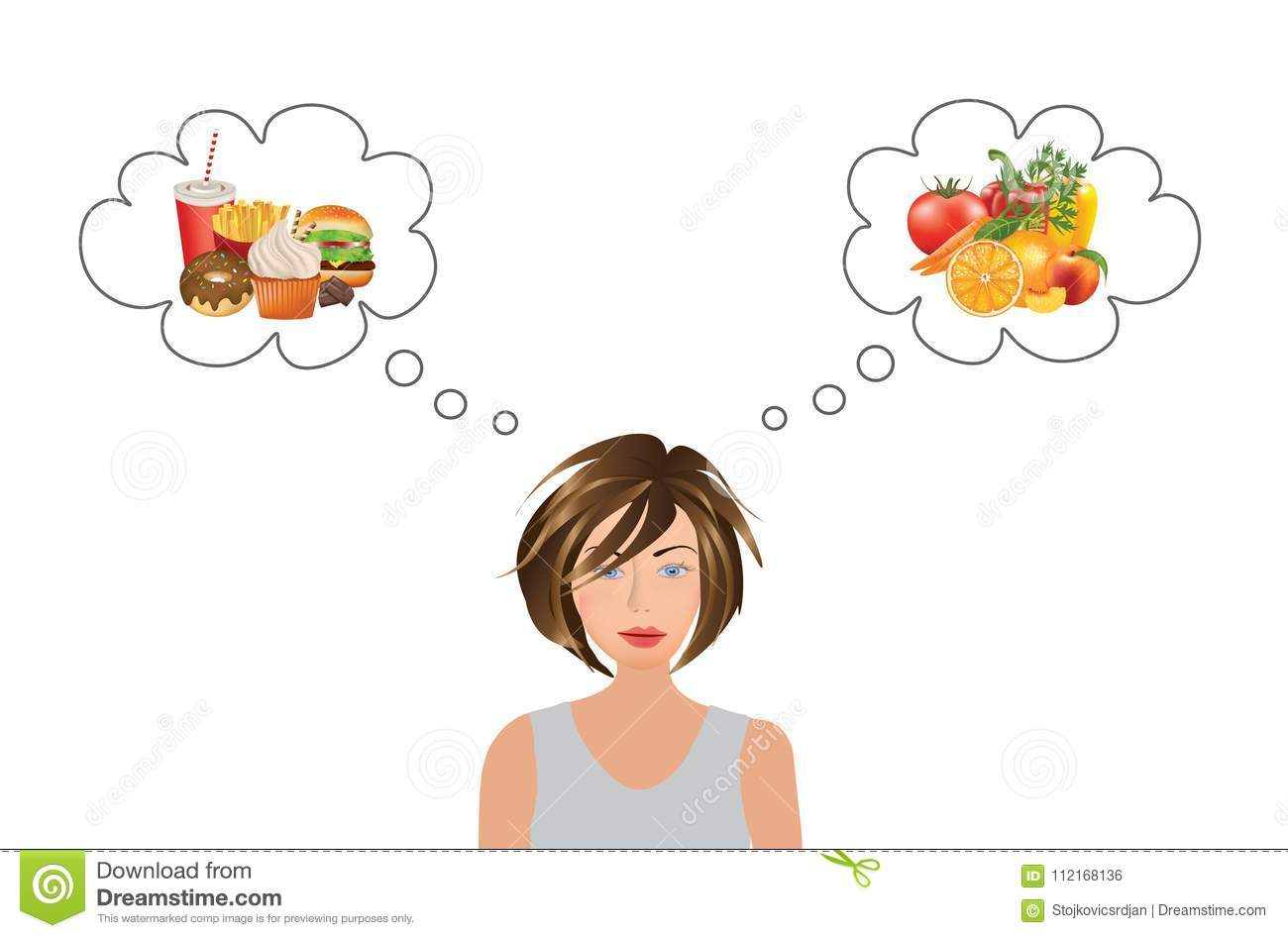 Woman Thinking About Food Choice Stock Vector