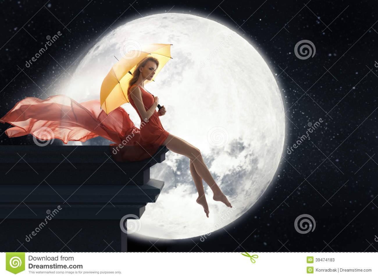 Cute Girl Cartoon Wallpaper Free Download Woman With Umbrella Over Full Moon Background Stock Photo