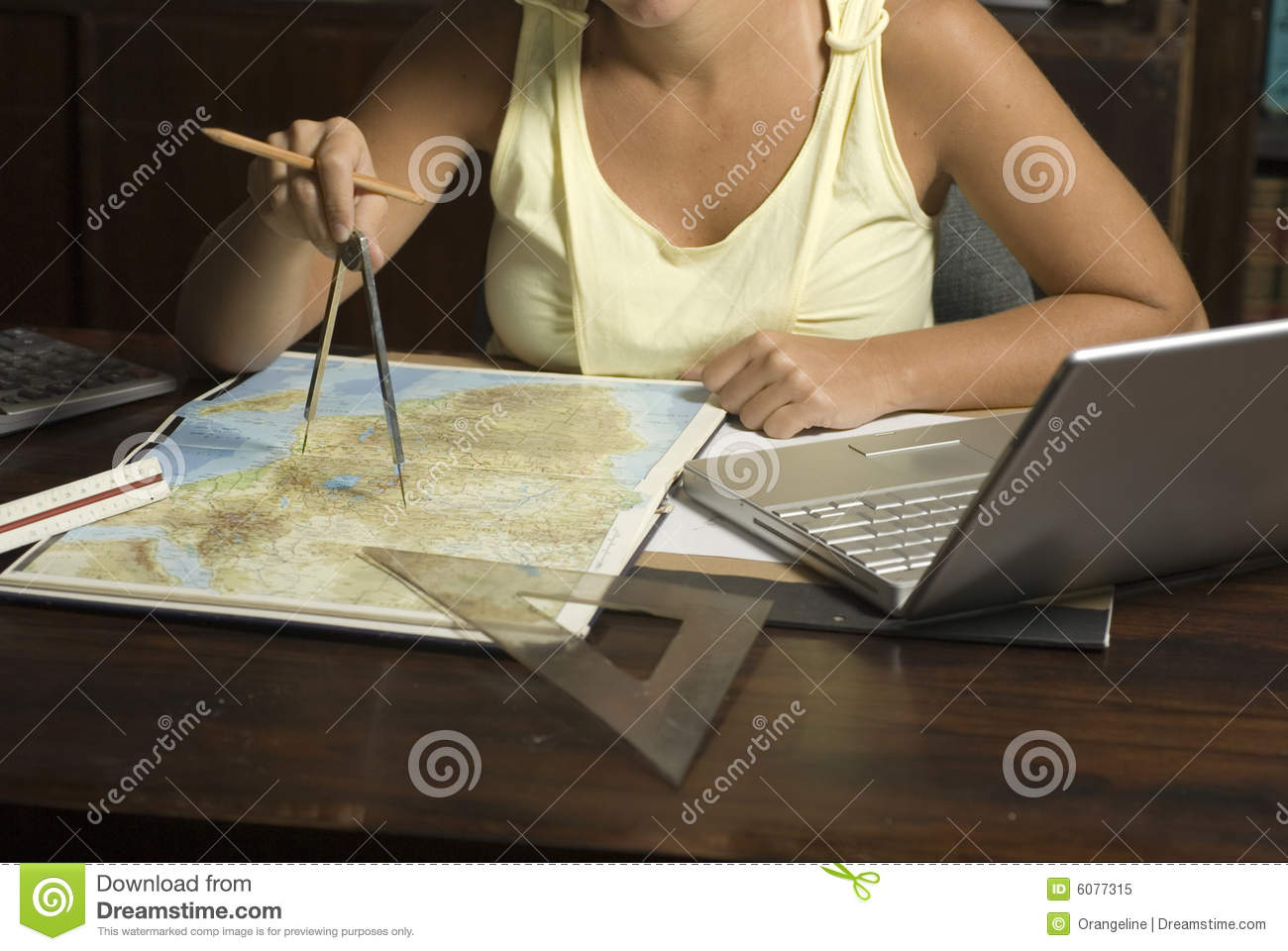 Woman Using Protractor