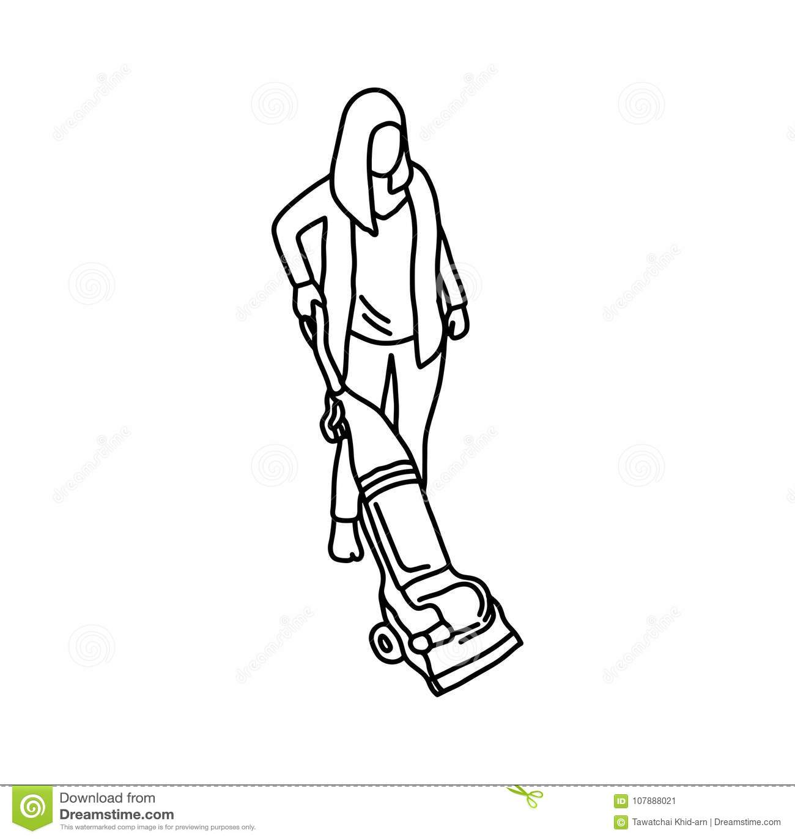 Woman Using Vacuum Cleaner On White Cartoon Vector