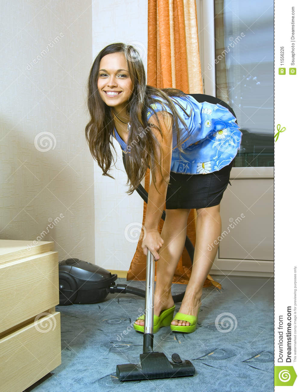 Woman with vacuum cleaner stock photo Image of apartment