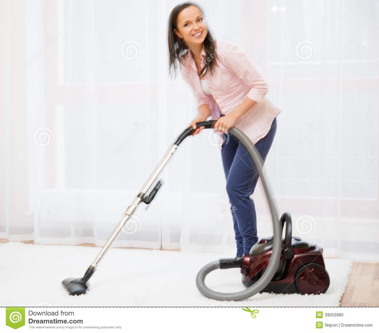 Woman Vacuum Cleaning Carpet Stock Photo  Image of maid