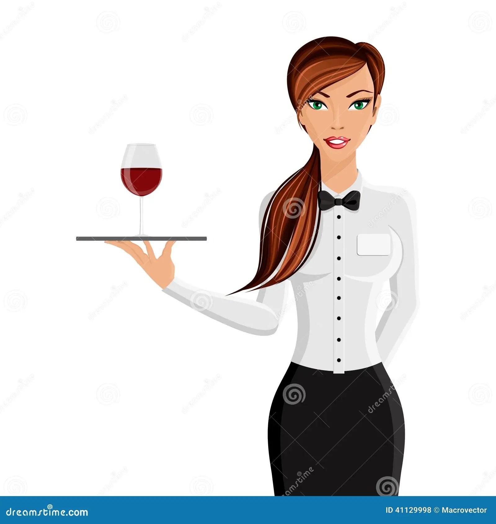 Woman Waiter Portrait Stock Vector  Image 41129998