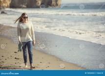 Barefoot Woman Walking Beach Stock