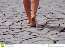 Woman Walking Barefoot Cracked Earth Stock