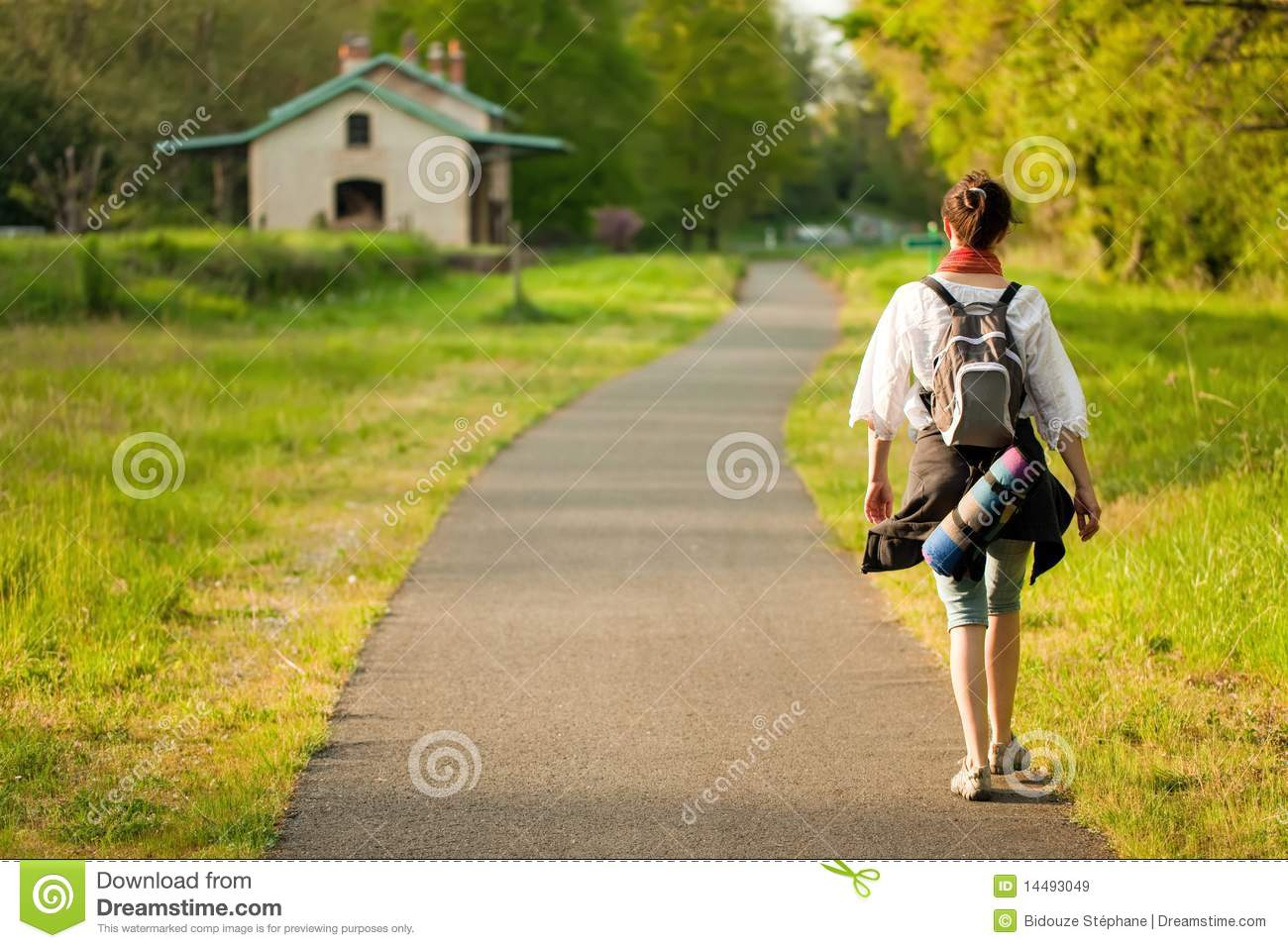 Girl Walking Alone Hd Wallpapers Woman Walking On Country Road Stock Image Image 14493049