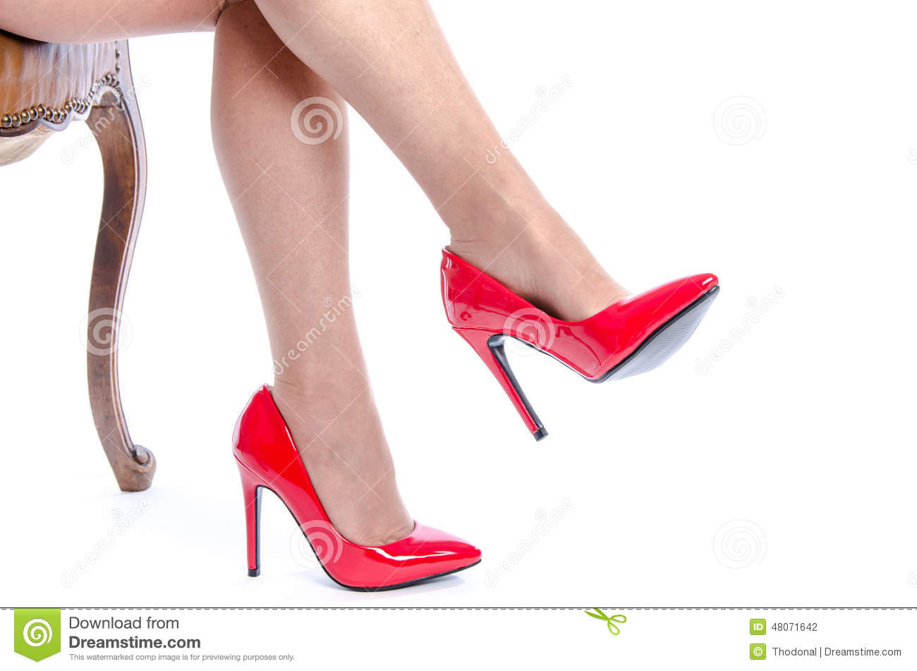 red heel chair cushions for metal chairs woman wearing high shoes stock photo image