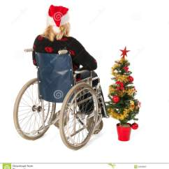 Chair For Elderly Club Chairs Living Room Woman In Wheel With Christmas Tree Royalty Free Stock Photography - Image: 35998807