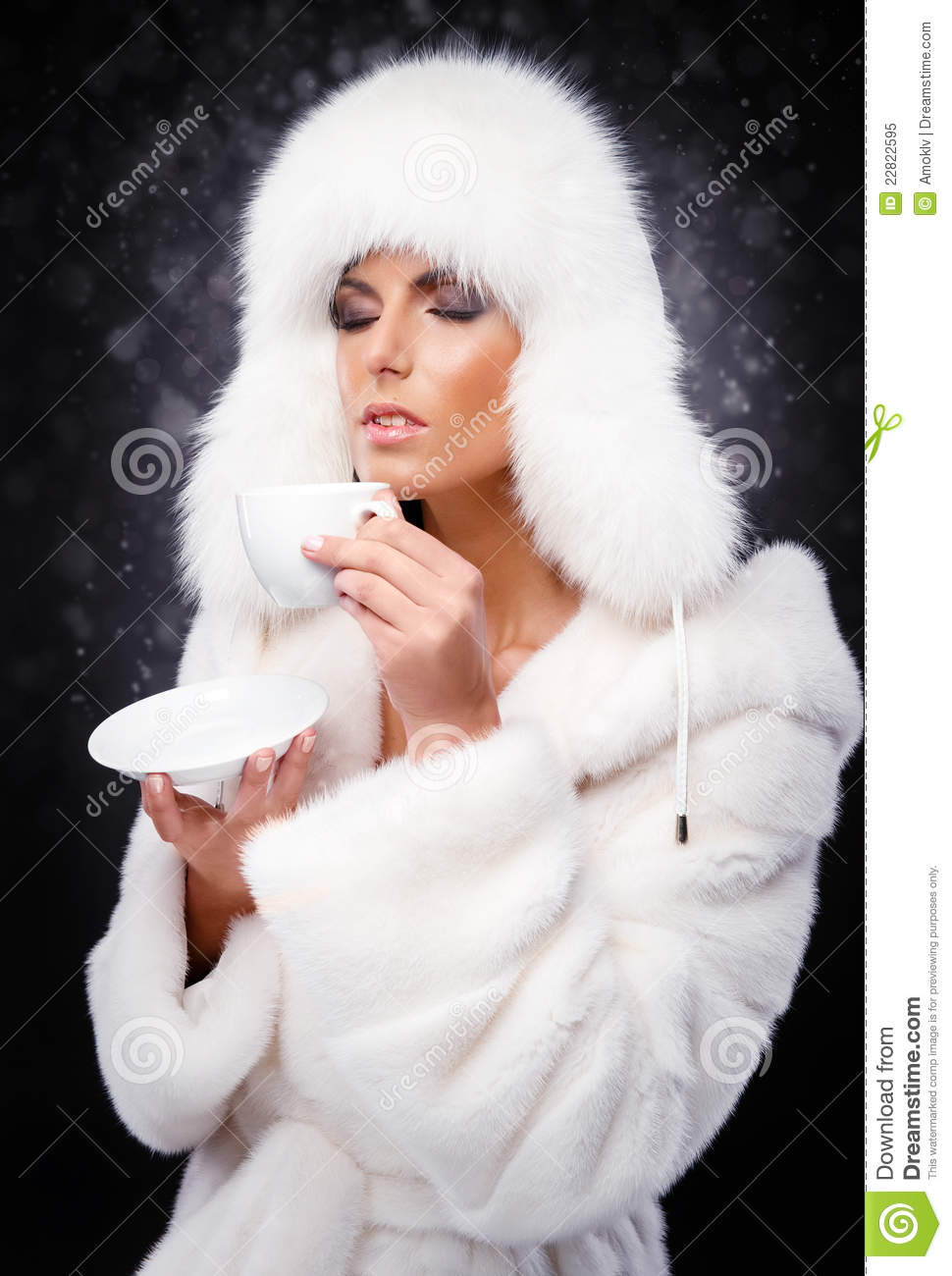 Drinking Girl Wallpaper Download Woman In White Fur Coat And Cap Drinking Coffee Stock