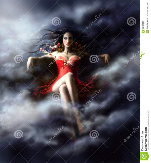 Woman Witch In Clouds Red Dress Stock Illustration - Of Lady White 60102332