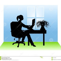 Desk Chair Office Max Counter Height Covers Woman Working From Home Stock Illustration. Illustration Of Female - 4504426