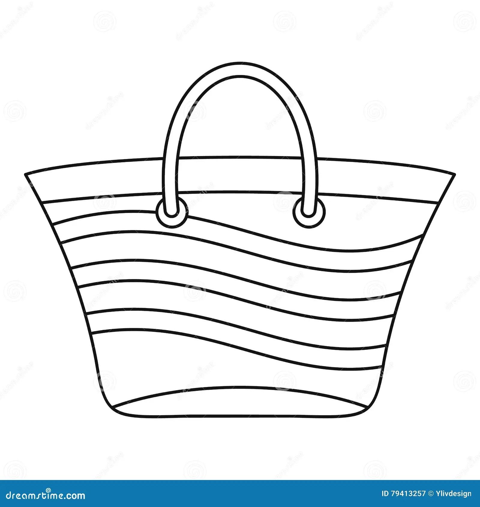 Women Beach Bag Icon Outline Style Stock Vector