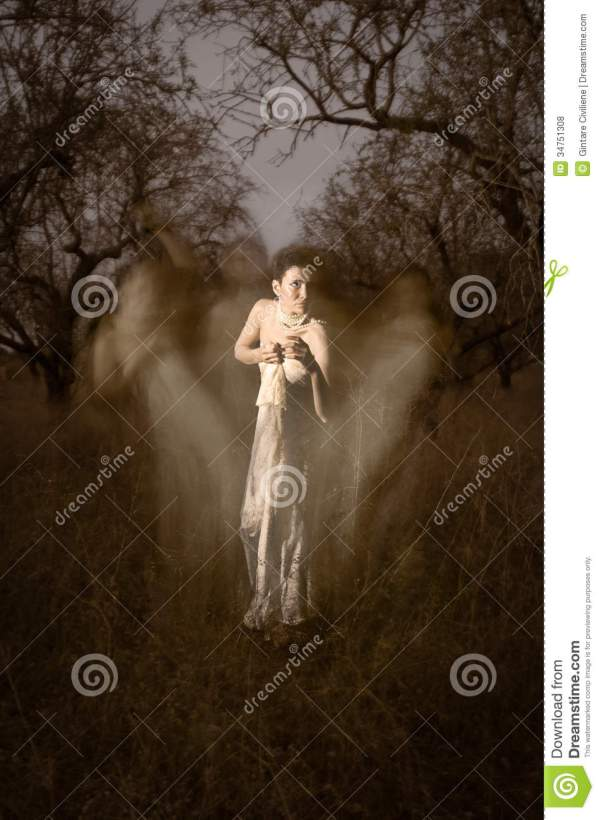 Women Ghost In White Surrounded Mystical Silhouettes