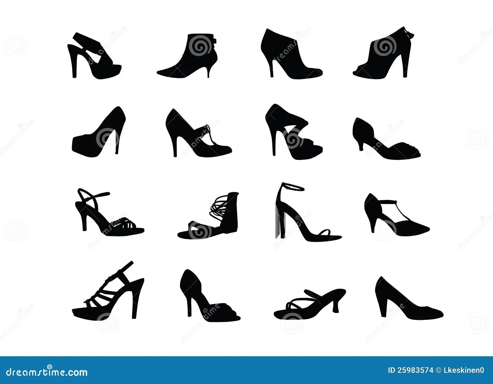 Women Heel Shoes Silhouettes Stock Vector