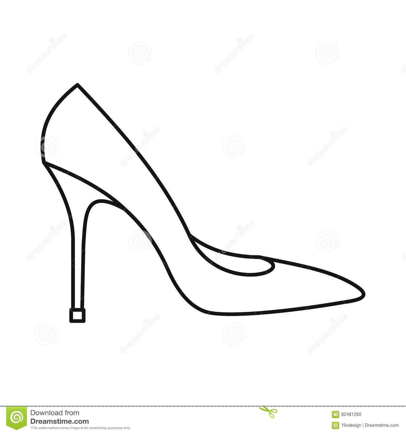 Women Shoe With High Heels Icon Outline Style Stock