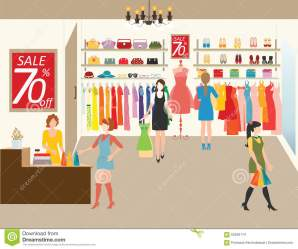 clipart clothing vector clothes shopping illustration department shoes accessories bags clip posters colour getting flat clipground most preview
