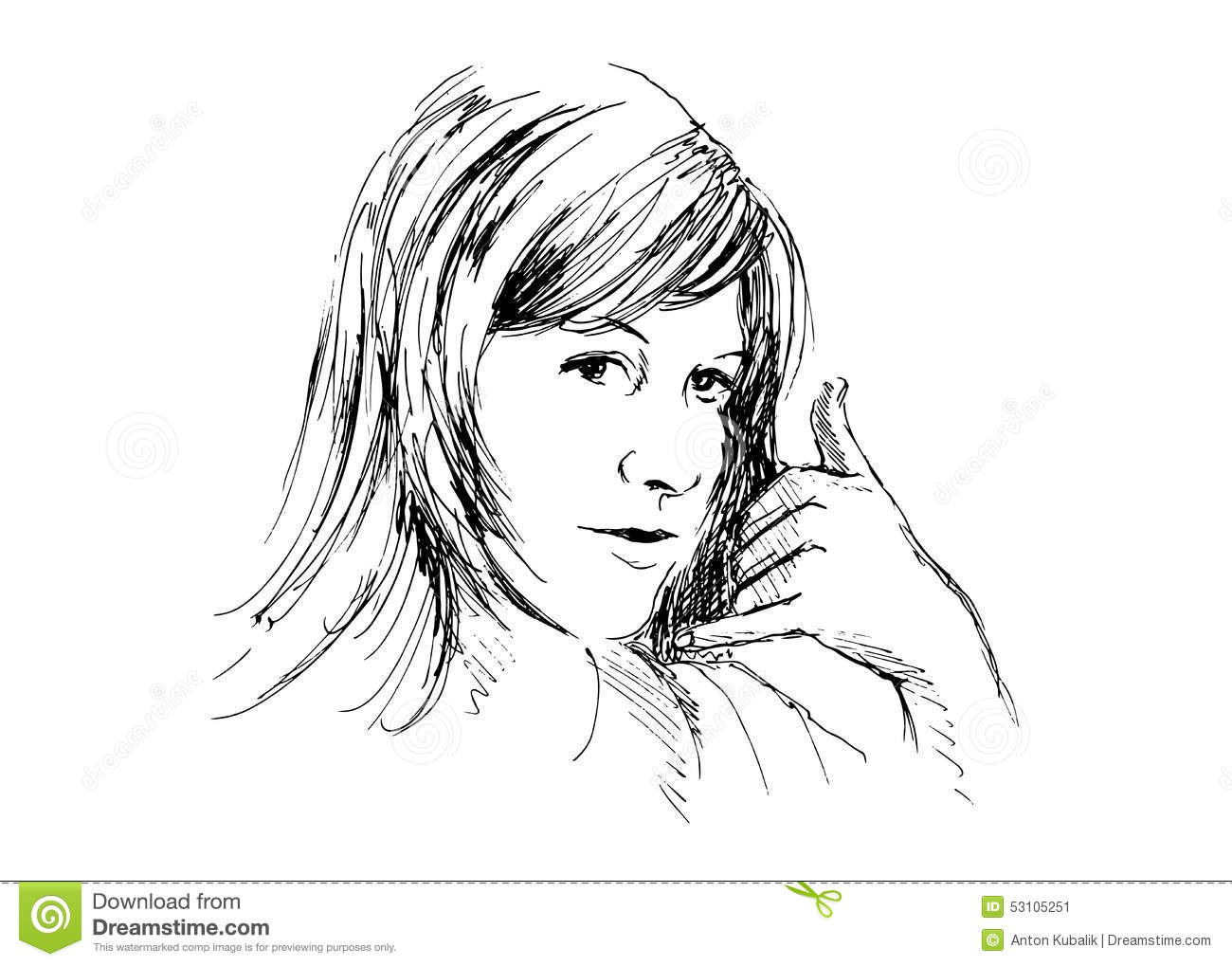 Women to call me gesture stock vector. Illustration of