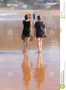 Women Walking Barefoot Beach Royalty Free Stock