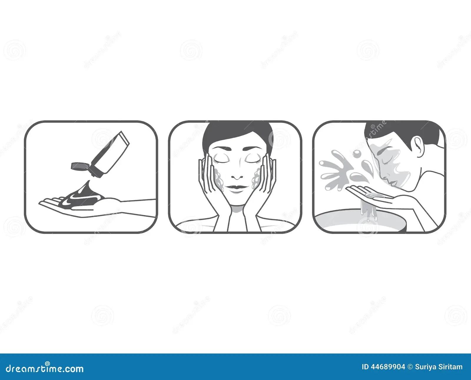Women-Wash-Face-Cartoon stock vector. Illustration of face