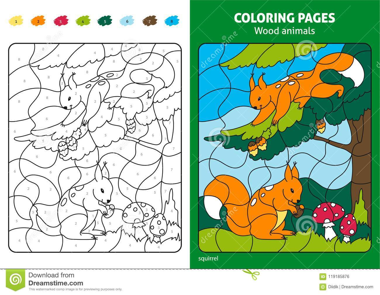 Wood Animals Coloring Page For Kids Squirrels In Forest