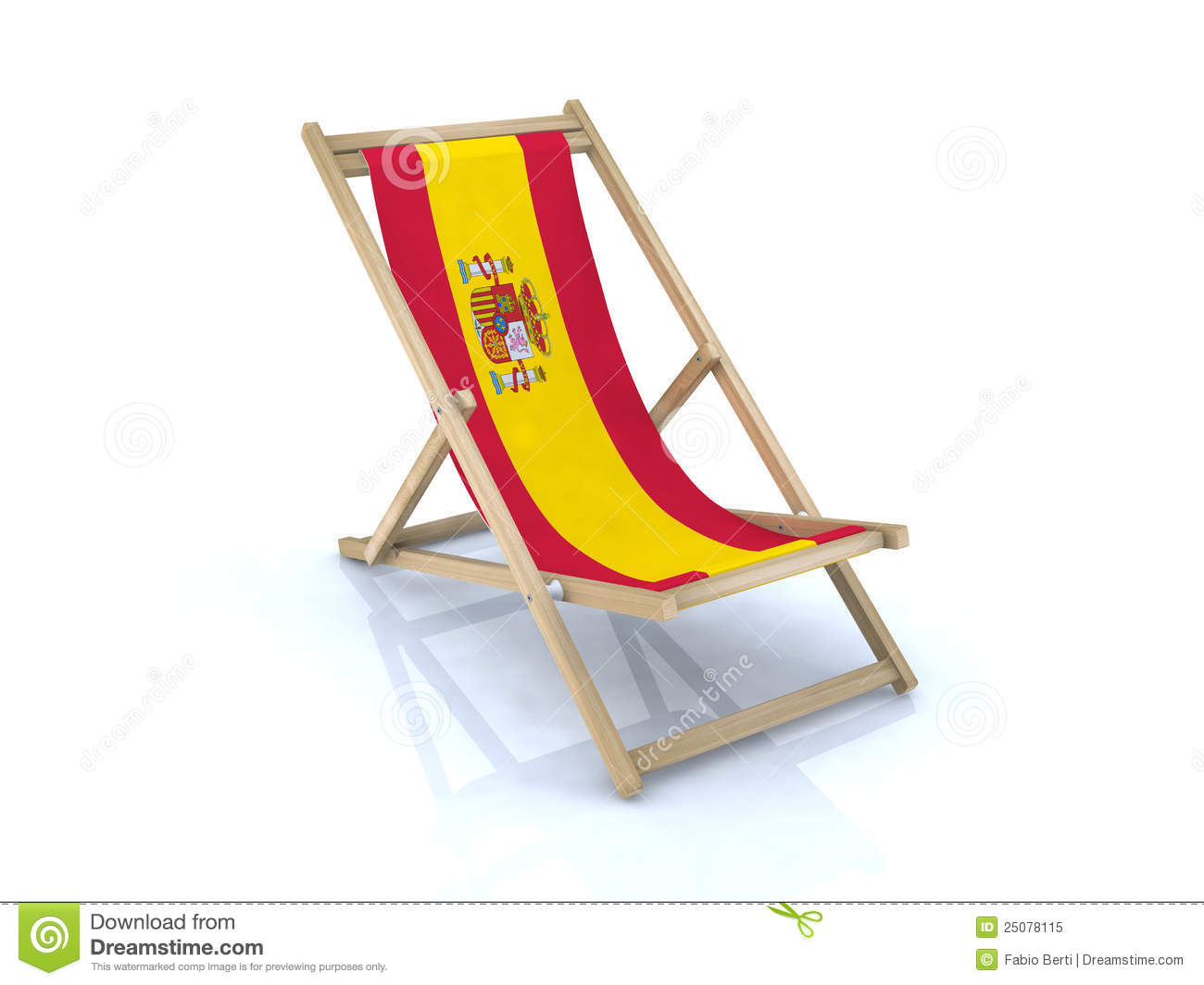 Chair In Spanish Wood Beach Chair With Spanish Flag Stock Illustration