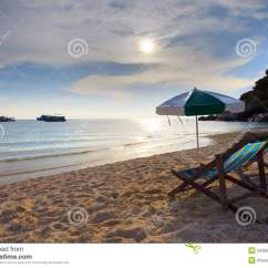 Beach Chairs And Umbrella Slipcover For Chair A Half T Cushion Wood At Sea Side Sun Set Stock Image - Image: 24389203