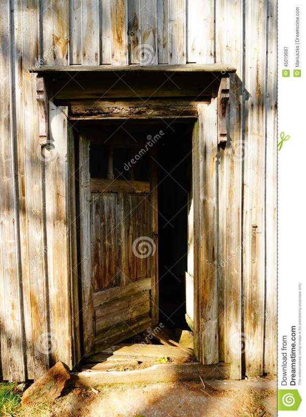 Wood Door In Old Farm House Norway Stock Photo Image