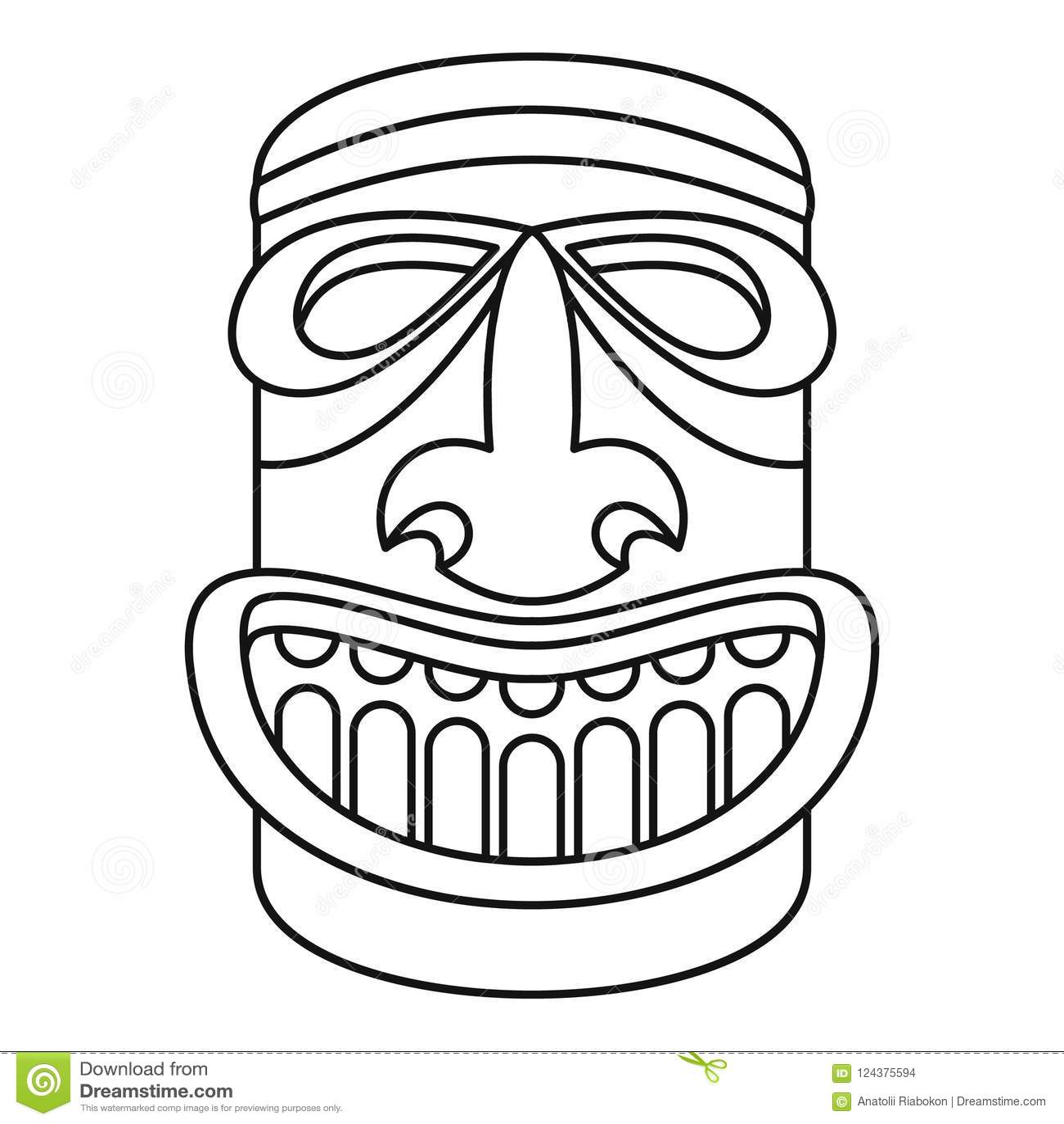 Wood Idol Icon Outline Style Stock Illustration