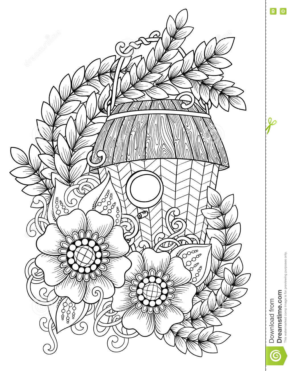 Wood Nesting Box. Pattern For Coloring Book, Tattoo