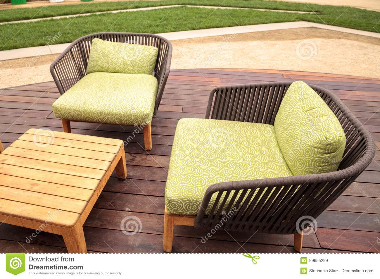 Outside Lounge Chairs Wood Patio Lounge Chairs With Green Cushions Stock Image Image
