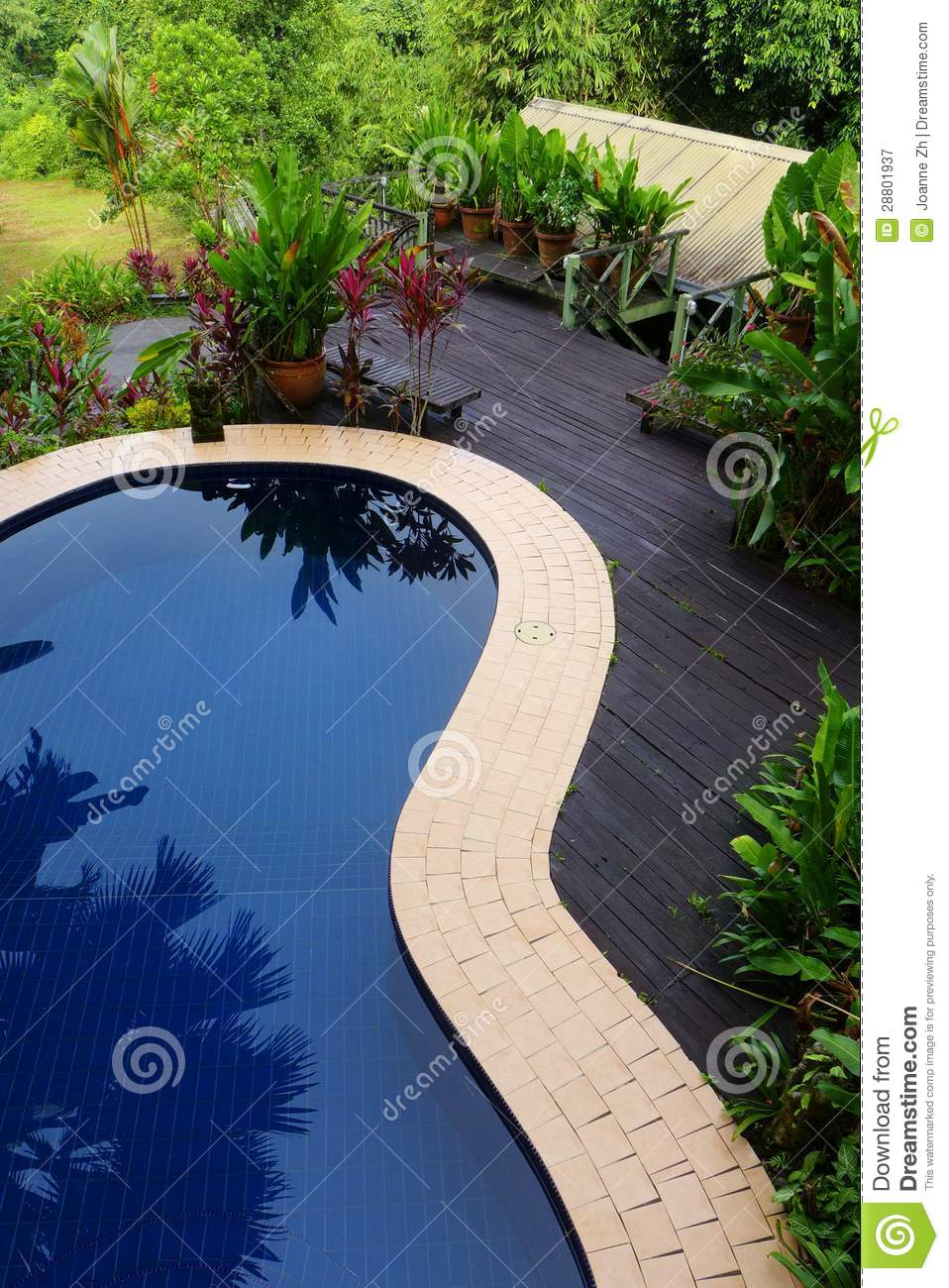 Wood Patio  Pool Layout With Landscaping Stock Image