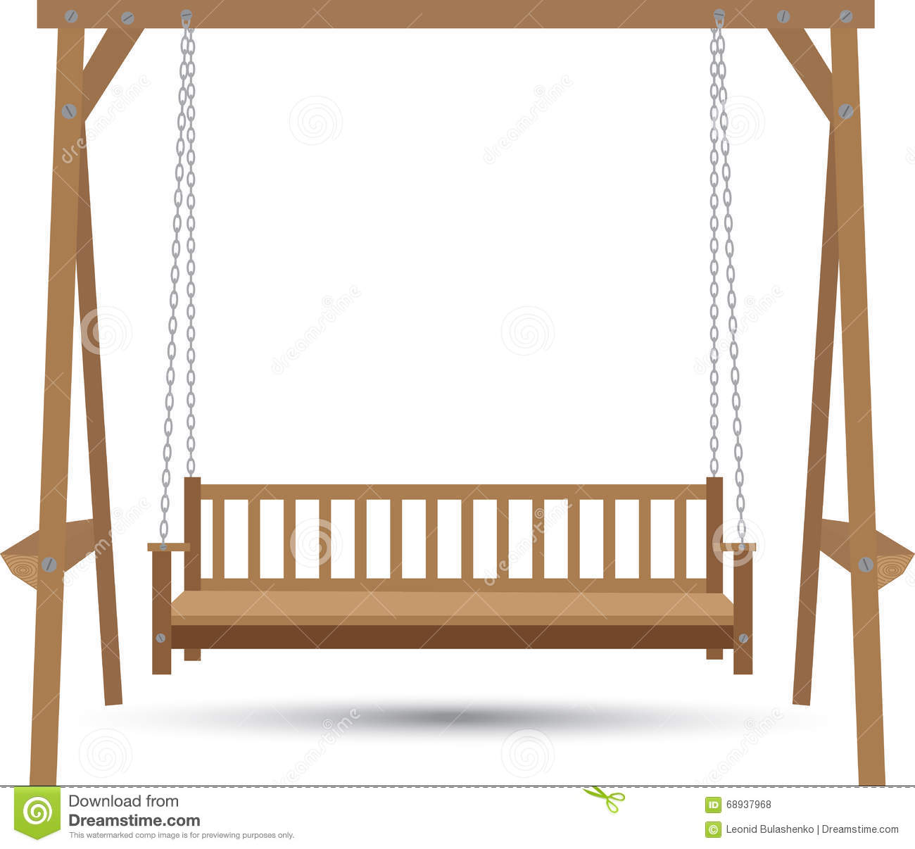 swing chair drawing antique commode wooden bench stock illustration image 68937968
