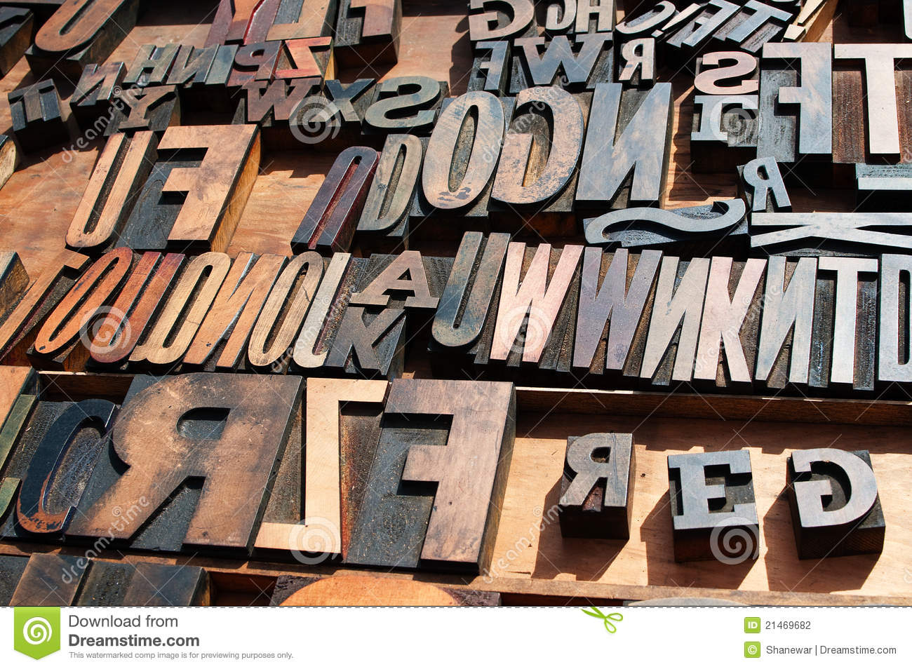 Wooden Block Printing Press Letters Stock Photo Image