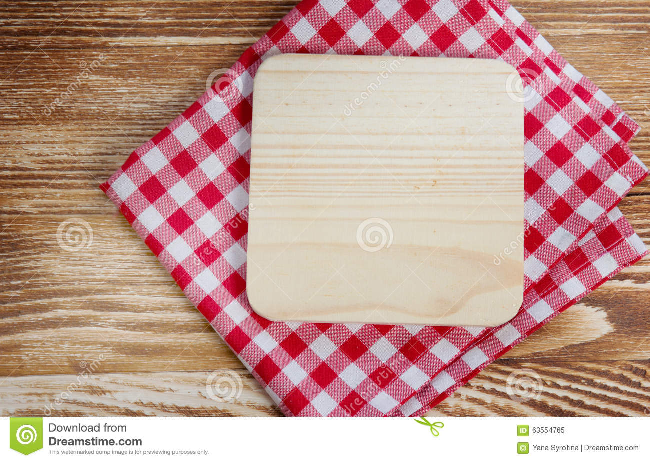 Wooden Board On Red Cloth Background Stock Photo Image