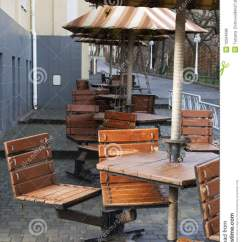 Cafe Chairs Wooden Wedding Chair Covers Hire Cheshire Tables And Umbrellas Stock Photo Image Of