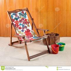 Canvas Beach Chair Blue Egg Wooden Or Deck Stock Image Of