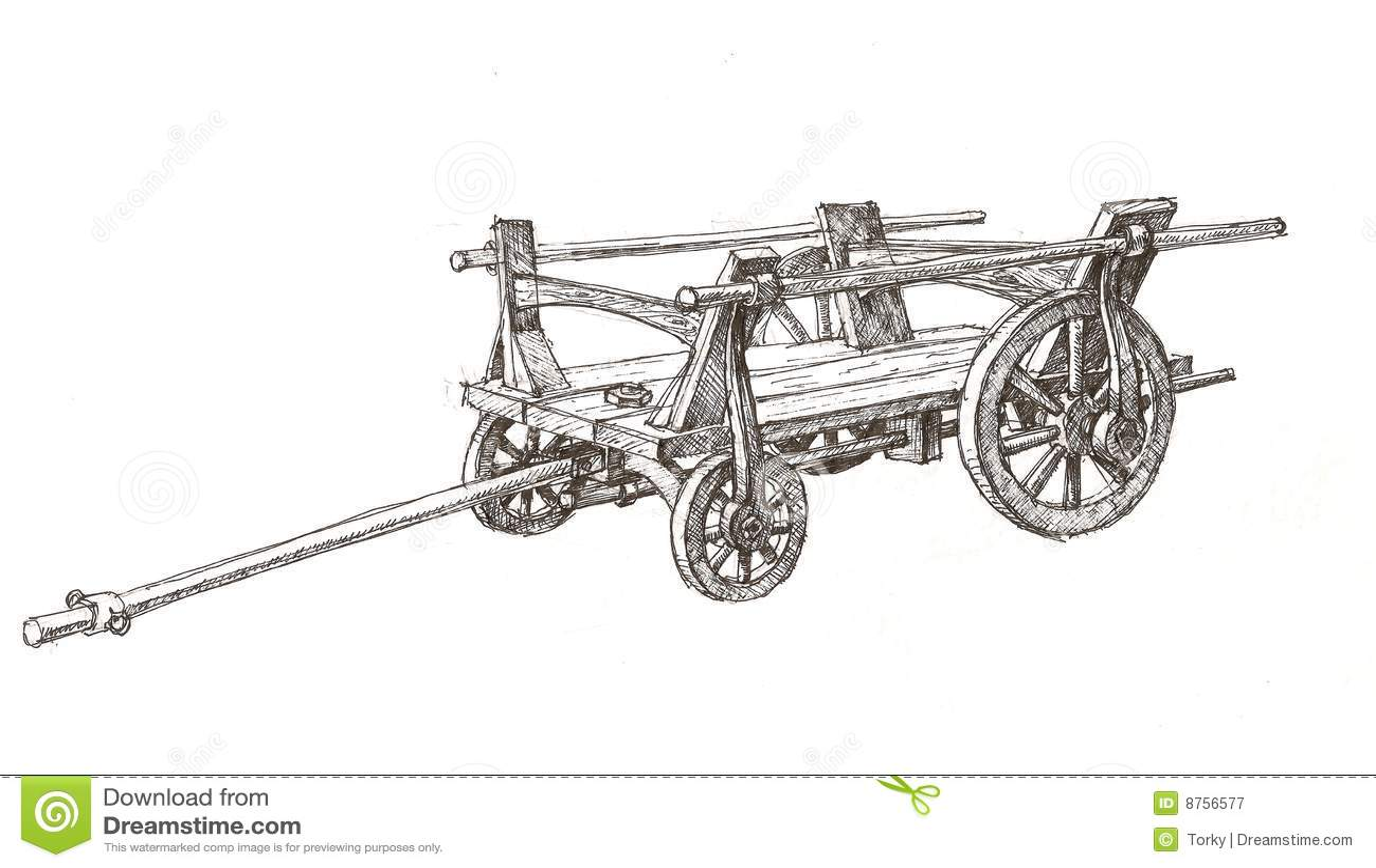 Wooden Cart Sketch Stock Vector Illustration Of Farm