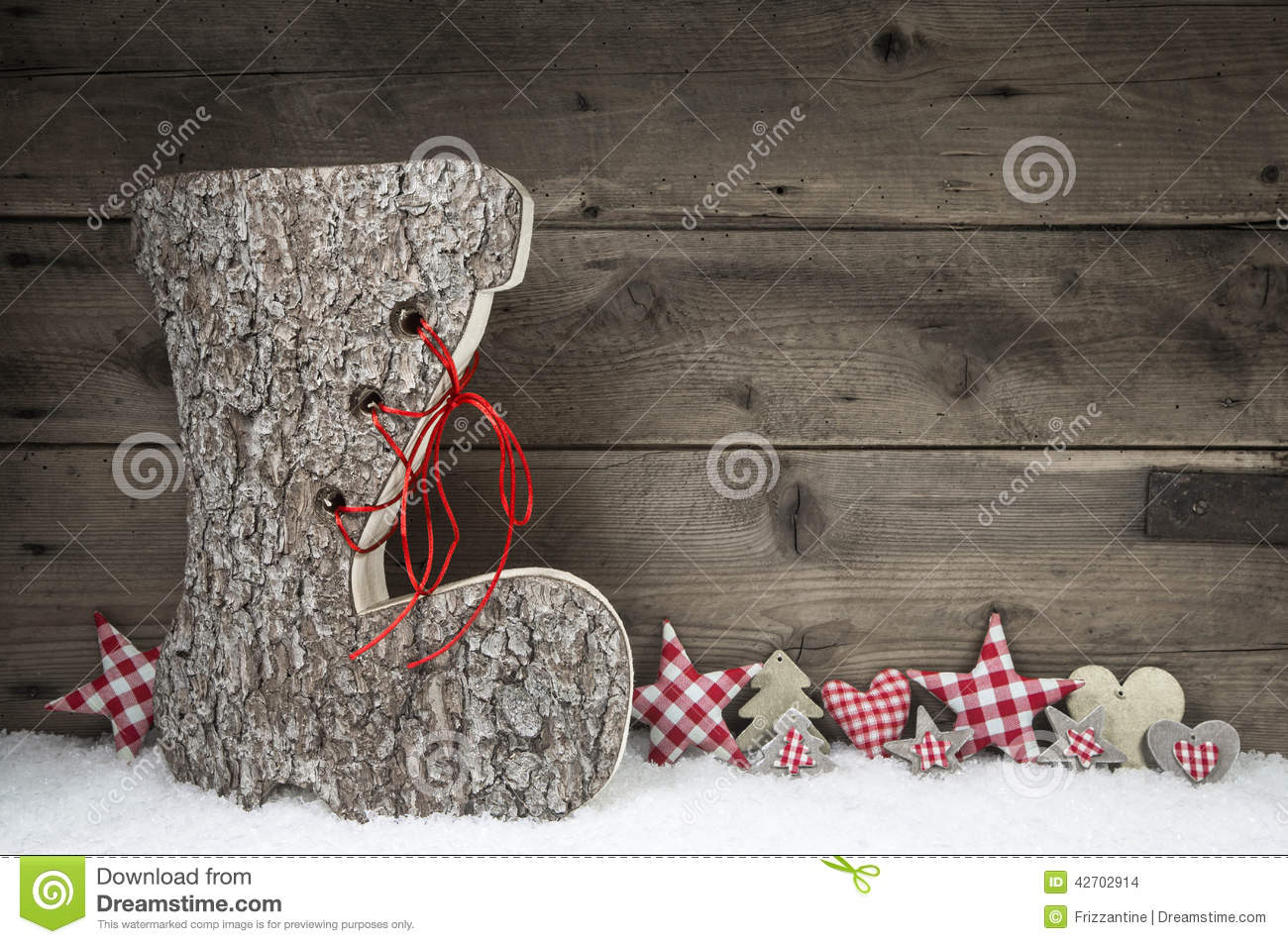 Wooden Christmas Background In Red And Grey With Santa