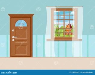 cartoon window door entrance closed wooden summer landscape met gesloten interior houten venster ingangsdeur zomermening landschap vector shutterstock isolated flat