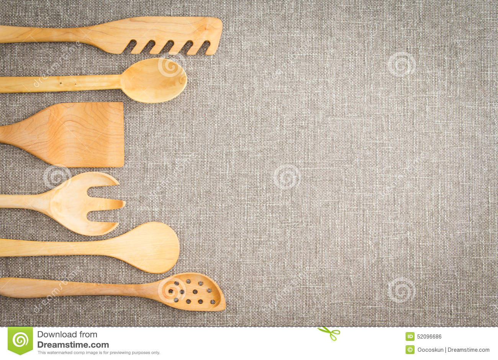 kitchen utensil set microwave cart wooden cooking utensils border stock photo - image: 52096686