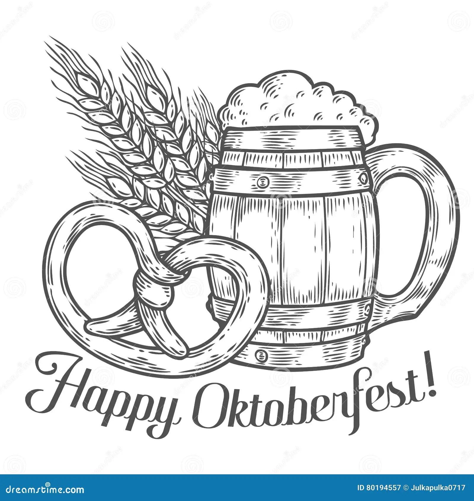 Wooden Craft Beer Mug Pretzel Wheat Happy Oktoberfest