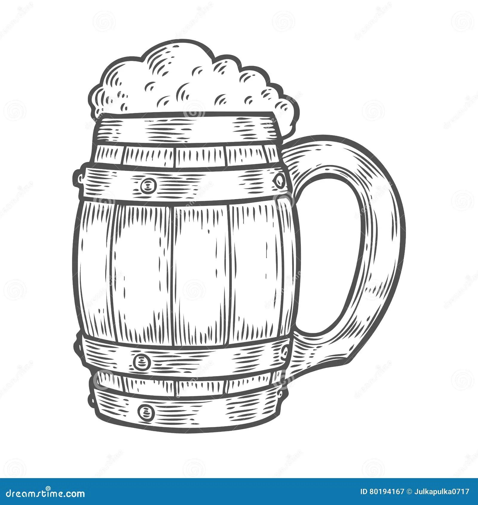 Wooden Craft Beer Oktoberfest Mug Black Vintage Engraved