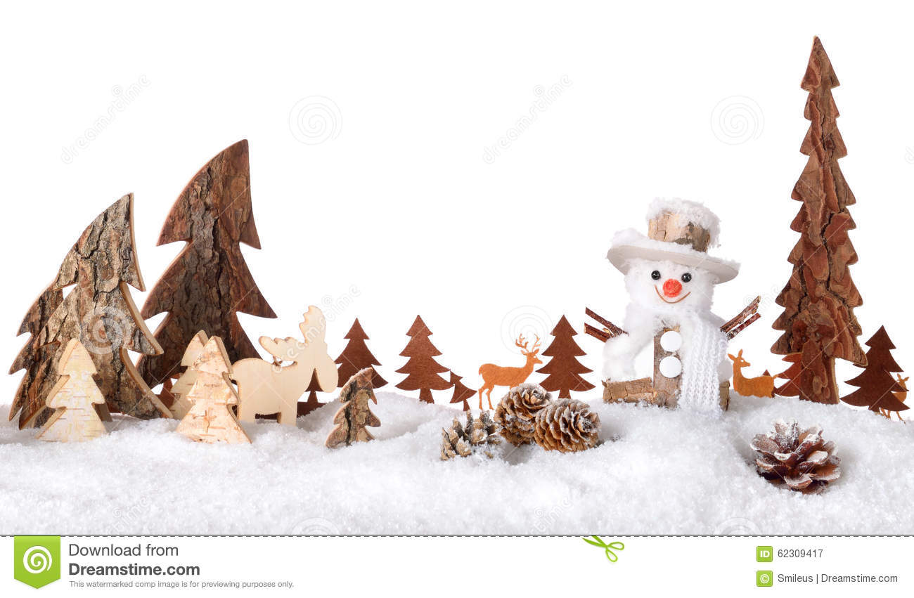 Wooden Decoration As A Cute Winter Scene Stock Image